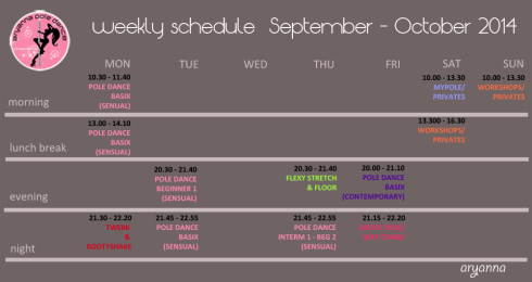 2014 -2015 APD Studio timetable